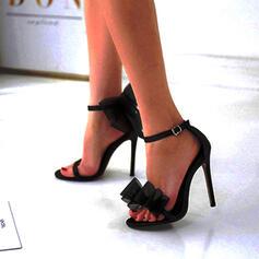 Vrouwen Kunstleer Stiletto Heel Sandalen Pumps Peep Toe met strik Effen kleur schoenen