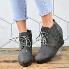 Vrouwen Suede Wedge Heel Half-Kuit Laarzen Ronde neus met Vastrijgen schoenen