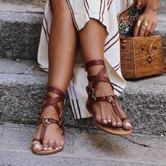 PU Flat Heel Sandalen Flats Peep Toe Teen Ring met Gesp schoenen