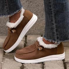 Vrouwen PU Flat Heel Enkel Laarzen Ronde neus Winterlaarzen met Vastrijgen Bont schoenen