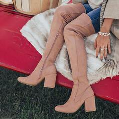 Vrouwen Suede Chunky Heel Over De Knie Laarzen Ronde neus met Ruched Rits Effen kleur schoenen
