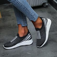 Vrouwen Mesh Flat Heel Flats Instappers met Sprankelende Glitter Effen kleur schoenen