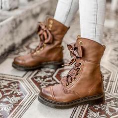 Vrouwen PU Chunky Heel Half-Kuit Laarzen Martin Boots Ronde neus met Vastrijgen Las kleur schoenen
