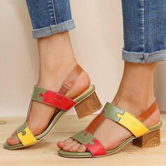 Vrouwen PU Chunky Heel Sandalen Peep Toe Hakken met Gesp Hol-out schoenen
