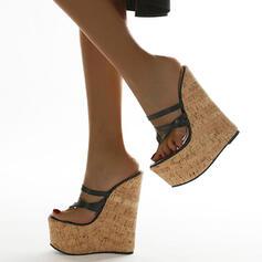 Vrouwen PU Wedge Heel Sandalen Wedges Peep Toe Hakken met Hol-out schoenen