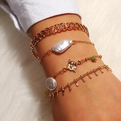Chic Gelaagd Legering Imitatie Parel Vrouwen Dames Armbanden 4 STUKS