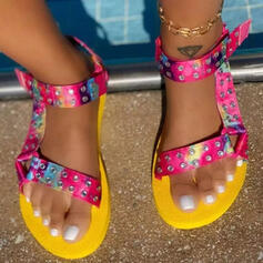 Vrouwen PU Flat Heel Sandalen Flats Peep Toe Slippers Teen Ring met Hol-out Velcro Las kleur schoenen