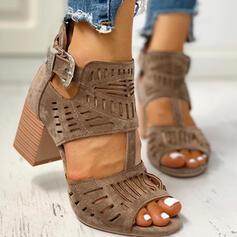 Vrouwen PU Chunky Heel Sandalen Peep Toe met Gesp Hol-out schoenen