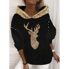 pailletten Lange Mouwen Kerst Sweatshirt