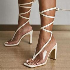 Vrouwen PU Chunky Heel Sandalen Pumps Peep Toe Flip Flops Vierkante teen met Vastrijgen Effen kleur schoenen