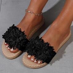 Vrouwen Suede Flat Heel Sandalen Flats Peep Toe Slippers Ronde neus met Bloem Effen kleur schoenen