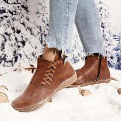 Vrouwen PU Flat Heel Enkel Laarzen Ronde neus Winterlaarzen met Vastrijgen schoenen