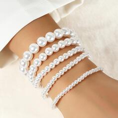Eenvoudig Charme Gelaagd Imitatie Parel Vrouwen Dames Armbanden 4 STUKS
