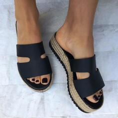 Vrouwen Kunstleer Flat Heel Sandalen Plateau Peep Toe Slippers met Hol-out Effen kleur schoenen