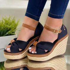 Vrouwen Suede Wedge Heel Pumps Plateau Wedges Peep Toe Hakken met Hol-out Las kleur schoenen