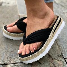 Vrouwen Doek Flat Heel Sandalen Plateau Flip Flops Slippers met Effen kleur schoenen