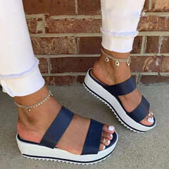 Vrouwen Kunstleer Chunky Heel Sandalen Plateau Peep Toe Slippers met Hol-out Las kleur schoenen