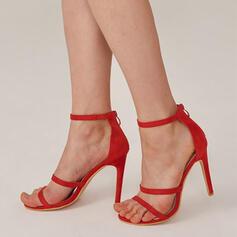 Vrouwen PU Stiletto Heel Sandalen Pumps Peep Toe met Rits Hol-out Effen kleur schoenen