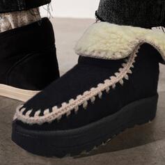 Vrouwen Suede Flat Heel Snowboots Ronde neus met Las kleur schoenen