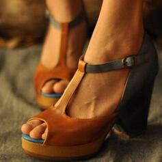 Vrouwen PU Chunky Heel Sandalen Pumps Peep Toe Hakken met Gesp schoenen