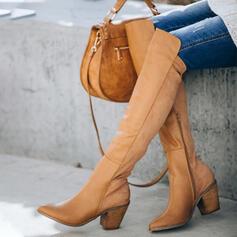 Vrouwen Kunstleer Chunky Heel Over De Knie Laarzen Winterlaarzen met Rits Effen kleur schoenen