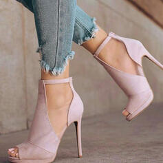 Vrouwen Suede Stiletto Heel Sandalen Pumps Peep Toe met Effen kleur schoenen