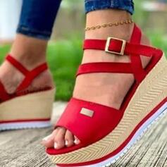 Vrouwen PU Wedge Heel Sandalen Plateau Wedges Peep Toe Hakken met Gesp Hol-out schoenen