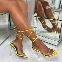 Vrouwen PU Stiletto Heel Sandalen Pumps Peep Toe Slippers Puntige teen met Vastrijgen Kristallen Hak Effen kleur schoenen