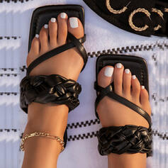 Vrouwen PU Flat Heel Sandalen Peep Toe Slippers Teen Ring met Ruched Hol-out schoenen
