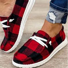 Vrouwen Zeildoek Flat Heel Flats met Vastrijgen Las kleur schoenen