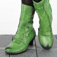 Vrouwen PU Kitten Hak Half-Kuit Laarzen Ronde neus met Rits Vastrijgen schoenen