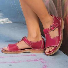 Vrouwen PU Low Heel Sandalen Peep Toe met Gesp Hol-out schoenen