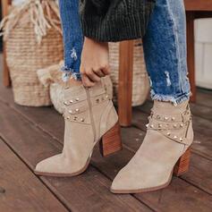 Vrouwen Suede Chunky Heel Enkel Laarzen Puntige teen Winterlaarzen met Klinknagel Gesp schoenen