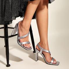 Vrouwen PU Chunky Heel Pumps Peep Toe Vierkante teen met Hol-out Verband schoenen