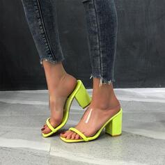 Vrouwen PU Chunky Heel Sandalen Peep Toe Hakken met Hol-out Verband schoenen