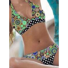 Nop Print V-hals Strapless Grote maat Kleurrijk retro Bikini's Badpakken
