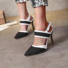 Vrouwen Jean Stiletto Heel Sandalen Pumps Closed Toe Puntige teen met Lapwerk Las kleur schoenen
