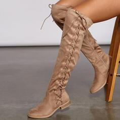 Vrouwen Suede Low Heel Over De Knie Laarzen Rijlaarzen Ronde neus met Ruched Vastrijgen Effen kleur schoenen