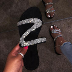 Vrouwen PU Flat Heel Sandalen Flats Peep Toe Slippers met Lovertje schoenen