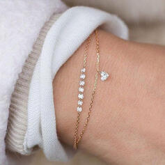 Charme Mooi Artistieke Romantische Legering met Zirkoon Hart Dames Bolo armbanden