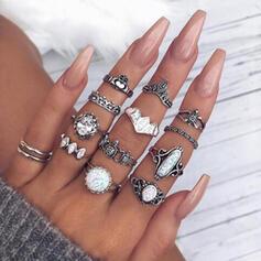 Exotisch Legering met Steentjes Ringen (Set van 12)