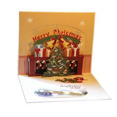 Kerstmis vrolijk kerstfeest 3D Met envelop Kaart Papier Kerstkaarten