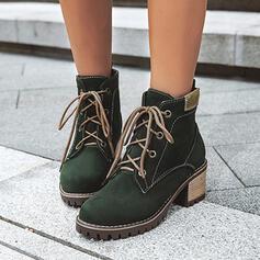 Vrouwen Suede Chunky Heel Enkel Laarzen Martin Boots Ronde neus met Vastrijgen Effen kleur schoenen