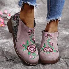 Vrouwen PU Chunky Heel Enkel Laarzen Ronde neus met Bloem Bloemen schoenen