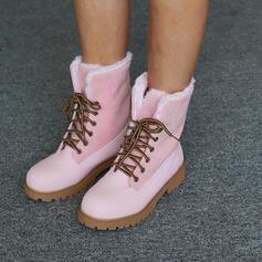 Vrouwen PU Chunky Heel Half-Kuit Laarzen Hoge top Ronde neus met Vastrijgen schoenen