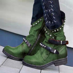 Vrouwen PU Low Heel Laarzen met Klinknagel Gesp schoenen