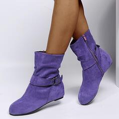 Vrouwen Suede Flat Heel Enkel Laarzen Ronde neus met Ruched Effen kleur schoenen