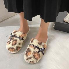 Vrouwen Nep bont Flat Heel Closed Toe Slippers met strik Colorblock schoenen
