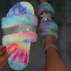 Vrouwen PVC Flat Heel Sandalen Flats Peep Toe Slippers met Strass Bont schoenen