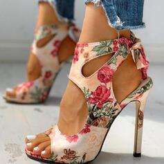 Vrouwen PU Stiletto Heel Sandalen Pumps Peep Toe Puntige teen met Hol-out Bloem Las kleur schoenen